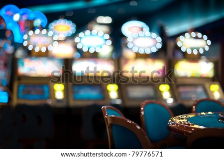 still life with chair arrangement at a roulette table - stock photo