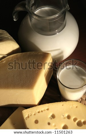 Still-life with cheese and milk