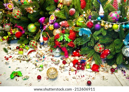Still life with christmas tree and broken decoration balls. Holidays background
