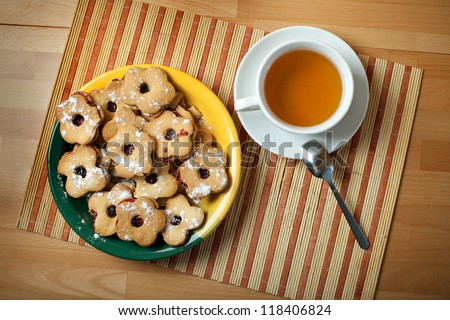 still life with cookies and tea