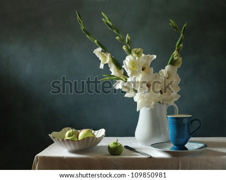 Still life with corn-flags and apples