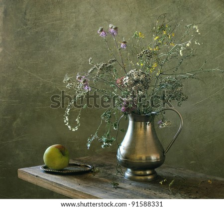 Still life with dry field flowers