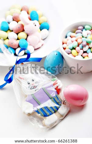still life with easter candies and cookies