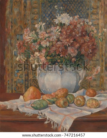 Still Life with Flowers and Prickly Pears, by Auguste Renoir, 1885, French impressionist painting. Renoir painted this with muted colors and subtle tonal contrasts