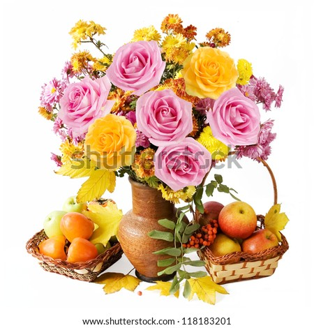 Still life with flowers, fruits and autumn leaves isolated on white background
