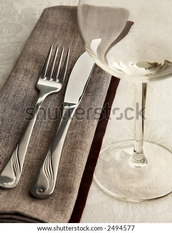 still-life with fork, knife and glass