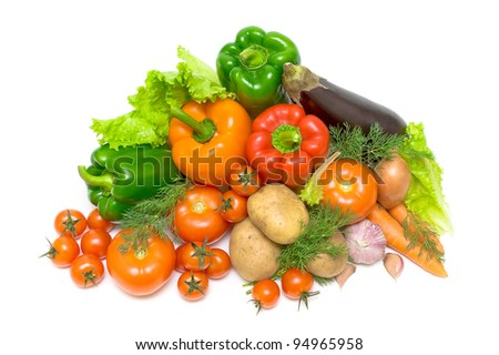 Still life with fresh vegetables on a white background. View from the top.