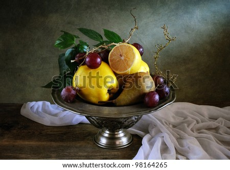 Still life with fruit and drapery