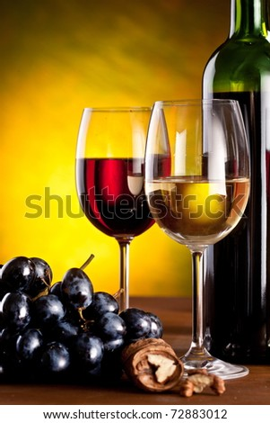 Still life with glass and bottle of wine.
