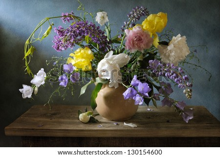 Still life with gorgeous summer flowers