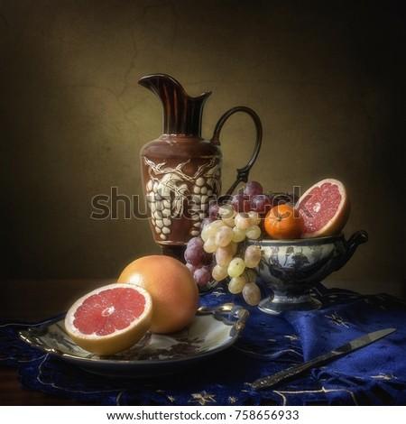 Still life with grapefruits #758656933