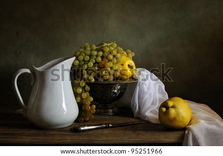 Still life with grapes and quinces