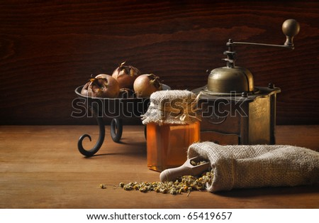 still life with herbs and honey