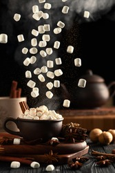 Still life with hot chocolate and marshmallows. Marshmallow and ground cinnamon falls from above. Hot steam rises from the mug