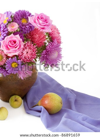 Still life with huge bunch of roses and asters and fruits (apples and pear) isolated on white