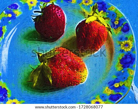 Still life with juicy strawberries on a plate in the style of oil painting Fauvism