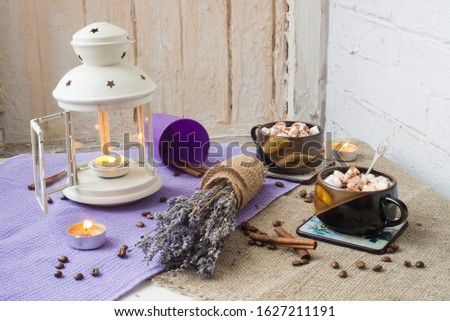 Still life with lavender and marshmallow