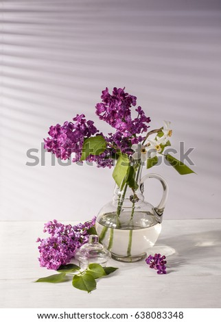 Still Life With Lilac Flowers In Glass Vase On Table Ez Canvas