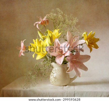 Still life with lilies (textured for artistic effect)
