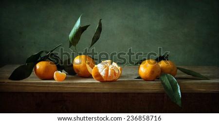 Still life with mandarins