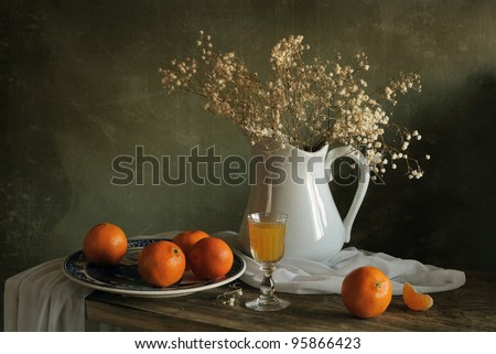 Still life with mandarins