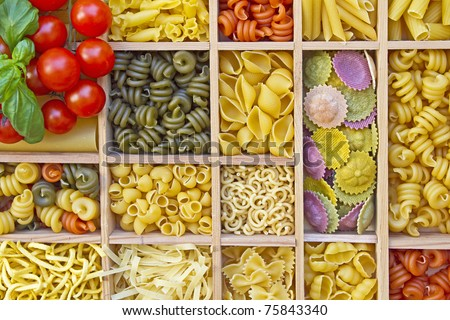 Still life with many different types of pasta