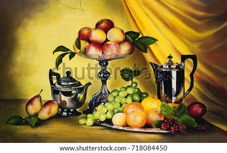 Still life with peaches and grapes. Oil painting for a postcard