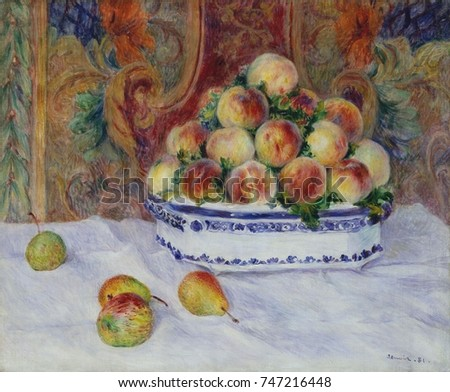 Still Life with Peaches, by Auguste Renoir, 1881, French impressionist painting, oil on canvas. This is one of two still lifes of peaches Renoir painted at the home of art patron Paul Berard