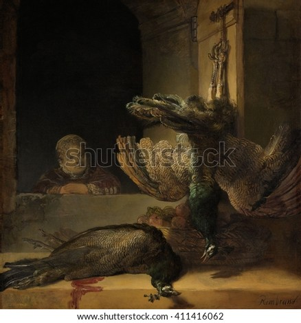 Still Life with Peacocks, by Rembrandt van Rijn, 1639, Dutch painting, oil on canvas. A girl looks at two dead peacocks. from a window. In 17th century Amsterdam, peacocks were a delicacy for the wea