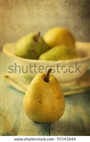 Still life with pears. Image with texture