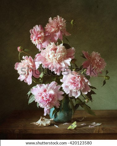 Still life with pink peonies and a shell (textured for artistic effect)