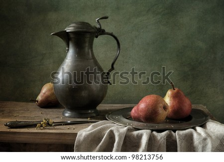 Still life with red pears