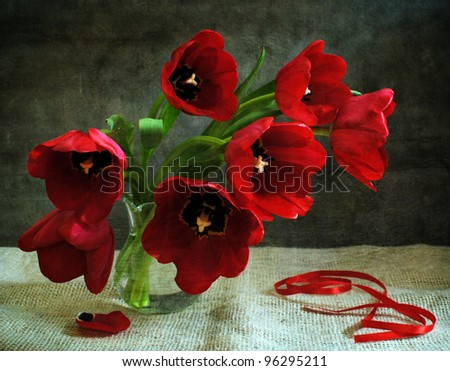 Still life with red tulips
