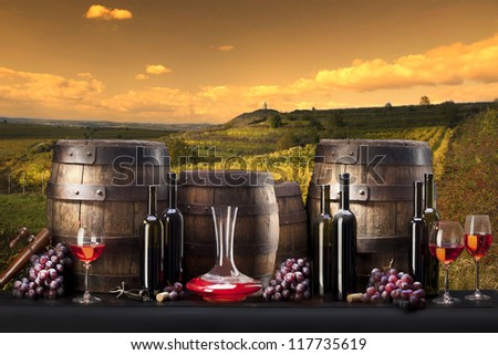 still life with red wine and vineyard