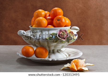 Still life with ripe tangerines