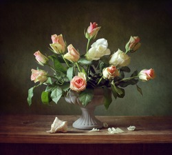 Still life with roses and a shell