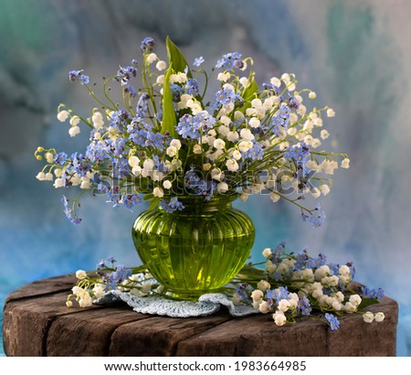 still life with spring lilies of the valley Foto stock ©