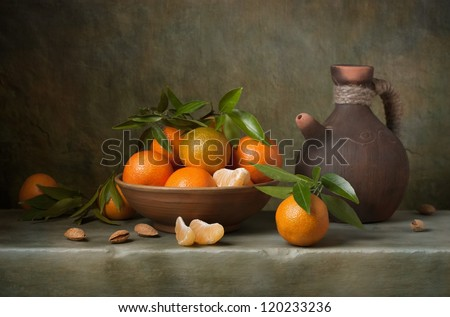 Still life with tangerines and jug