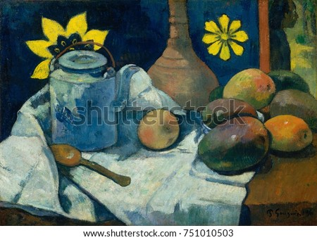 Still Life with Teapot and Fruit, by Paul Gauguin, 1896, French Post-Impressionist oil painting. Gauguins still life has mangoes and a Tahitian-style printed cloth as a backdrop. There is a figure at