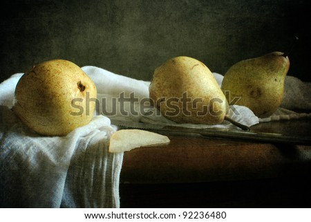 Still life with three pears