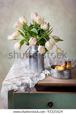 Still Life with Tulips in old milk can and Pears
