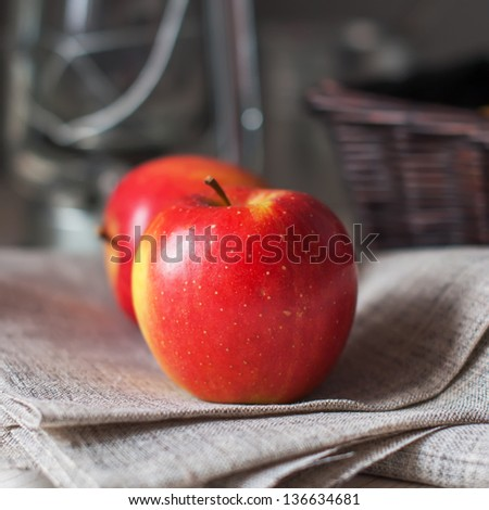 Still life with Two Red Apples, square image