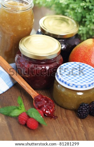Still life with various types of home made jam