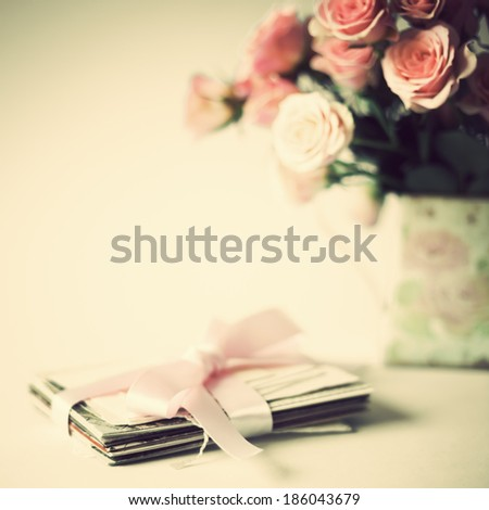 Still life with vintage pink roses