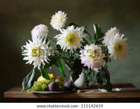 Still life with white dahlias