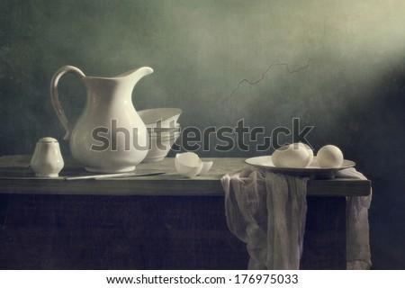 Still life with white porcelain