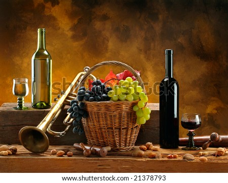 Still life with wines and trumpet