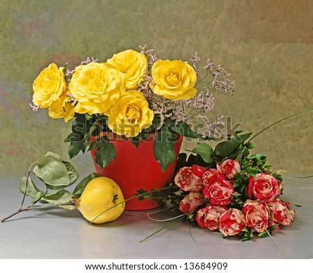 still-life with yellow and striped roses