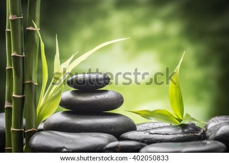 still life with zen basalt stones and bamboo  ストックフォト ©