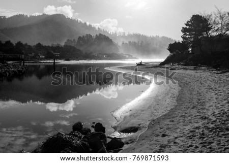 Still Ocean Inlet Waters, Hills, Mountains, Sand, Beach and Reflection Black and White  #769871593
